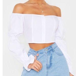 White elegant crop top